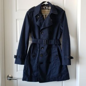 Burberry Brit Navy Cotton Trench Jacket Medium